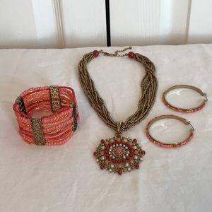 CORAL & bronze beaded necklace bracelet & earrings